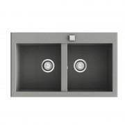 Poalgi - Lava-louças de 2 pias Concret 79 x 52 cm Shira Poalgi