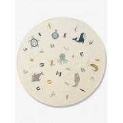 VERTBAUDET Tapete redondo, Abecedário de animais marinhos branco claro liso com motivo