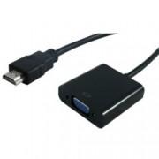 Преходник Roline S3200-10, HDMI(м) към VGA(ж), черен