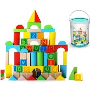 Alphabet Wooden Building Blocks Set | Brightly Colored Educational 80 pc Stacking Block Set for Toddlers & Kids Age 2
