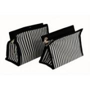 K&P Zebra Stripe Large Pack of 2 Travel Toiletry Kit(Black)