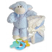 Stephan Baby Plush Sherpa Fleece Wooly Lamb and Security Blanket Gift Set, Blue