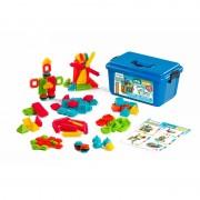 Joc de construit Pegy Bricks Miniland, 100 piese, 3 ani+