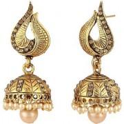 Jewels Gold Alloy Amazing Golden Plated Traditional Designer JG-JM7589 Jhumki / Jhumka Earring Set