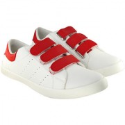 Blinder Men's Trendy White Red Velcro Casual Sneakers Shoes