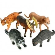 "Hands On Learning Set of 5 Realistic Animal Toy Figures 7"" Large Realistic Wildlife Animals for Zoo - Animal Play Sets - Fun Toys For Children, Birthday Party Favors, Classroom Educational Animal Figures"