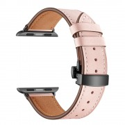 Genuine Leather Watch Band Replacement Strap for Apple Watch Series 4 5 44mm/ Series 1 2 3 42mm - Black Buckle/Pink