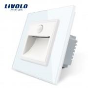Lampa de veghe LED Livolo cu rama din sticla, Senzor miscare incorporat, alb