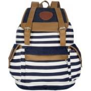 Zureni Canvas School Bag Travel Backpack Cute Stripe laptop Rucksack Bag Women Cute Stripes Pattern Canvas Backpack Girl Fashion 20 L Backpack(Blue)