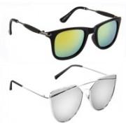 Elgator Wayfarer, Over-sized Sunglasses(Yellow, Silver)