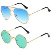 SRPM Aviator, Round Sunglasses(Blue, Green)