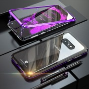 Detachable Magnetic Metal Frame + Tempered Glass Back Protection Hard Shell for Samsung Galaxy S10e - Black / Purple