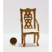 Dollhouse Miniature Dollhouse Miniature Oak Hand Carved Dining Room Arm Chair