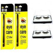 ADS Eye Care Long Lasting Waterproof Extra Black Kajal 12H -2 pcs + Imported Attractive Artificial Eyelashes - 2 Pair