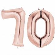 Shoppartners Folie ballon cijfer 70 rose goud