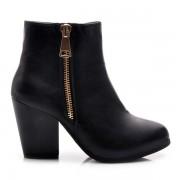 AMERICAN CLUB Parádní černé kotníčkové dámské boty s módním zipem 37