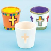 Baker Ross Cross Tealight Holders - 4 Cross-Themed White Ceramic Tealight Holders To Paint & Decorate. Ideal For Christian Crafts & Sunday School Activities