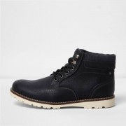 River Island Mens Black lace-up contrast sole work boots