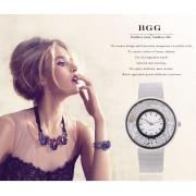 Kreatívne hodinky Crystal moderne strieborné
