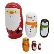 IJARP Wooden Russian Nesting Dolls 6Pcs Cute Santa Claus Traditional Wishing Matryoshka Sorting and Stacking Dolls Handmade Meaningful Kids Toys/Birthday Christmas Gifts Home Decoration
