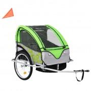 vidaXL Remorque à vélo et poussette pour enfants 2-en-1 Vert et gris