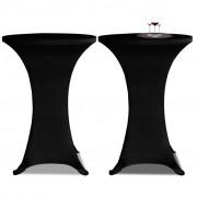 Faţă de masă pentru mese înalte Ø 70 cm Negru Elasticizată 2 buc