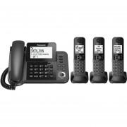 Telefono Fijo Panasonic Con 3 Extensiones Inalámbricas KX-TG573SK-Negro