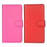 Patron de Lichee caso w / Stand para Sony M4 AQUA - rojo + color rosa oscuro (2 piezas)