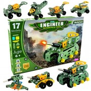AdiChai - Little Engineer Mechanical Kit for Juniors - Build Your Own Battlefield Vehicles - Building Construction Engineering Toys for Kids