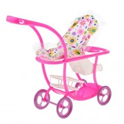 Phenovo 1/6 Dollhouse Outdoor Baby Buggy Pram Infant Push Cart Pushchair Dolls Trolley for Kelly Doll Kids Toys Pink
