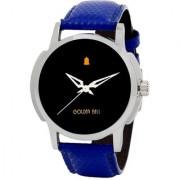 Golden Bell Men'S Blue Black Round Genuine Leather Strap Wrist Watch (410Gb)