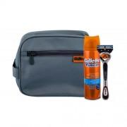 Gillette Fusion Proglide Flexball darčeková kazeta pre mužov holiaci strojček s jednou hlavicou 1 ks + gél na holenie Hydrating 200 ml + kozmetická taška