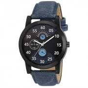 True Colors Blue Leather Time Look Quartz Watch For Men