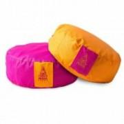 PRANA Pink + Narancs 2in1 kifordítható huzat 36x12 cm kerek jóga ülőpárnához