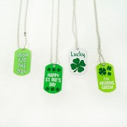 Metal St. Patty's Day Dog Tag Necklaces Irish Party Favors-12 pc