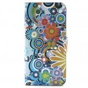 Carteira para iPhone 5 / 5S / SE - Flores Coloridas - Branco