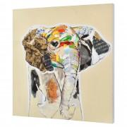[art.work] Ručně malovaný obraz - slon 2 - plátno napnuté na rámu - 80x80x3,8 cm