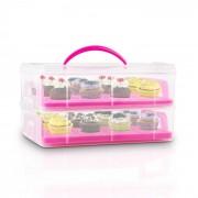 USS Pink Cookie, преносима кутия за сладкиши, розова, на 2 етажа , с 2 тави и 1 дръжка