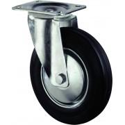 Kelfort Zwenkwiel met plaat 235mm, Zwart rubber loopvlak