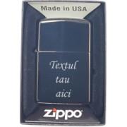 Bricheta metalica Zippo chrome brushed personalizata cu textul tau