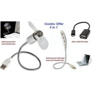 Combo 3 in 1 of USB FAN + USB Powered 3 LED Flexible Wire Light + Micro USB OTG