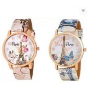 Women Wrist Watch combo (Paris Eiffel Tower Print Golden Round Dial)