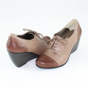 Pantofi piele naturala dama - bej, maro, Nike Invest - toc mediu - M524-MBej