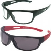 Vast Sports, Wrap-around Sunglasses(Red, Clear)