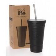Termos cafea inox FrappeFredo cu pai din metal 480 ml EcoLife Culoare - Negru