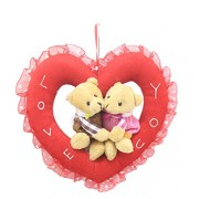 Tickles Red Romantic Teddy Couple in The Heart Ring Valentine Gift Stuffed Soft Plush 20 cm