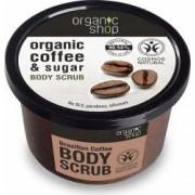 Scrub de corp Organic Shop delicios cu zahar si cafea Brazilian Coffee, 250 ml