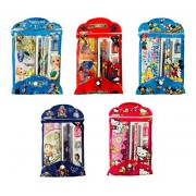 RIANZ Different Cartoon Character Pencil Cases with 2 Pencils, 1 Eraser, 1 Sharpener, 1 Scale and 1 Pencil Box - Set of 5