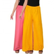 Culture the Dignity Women's Rayon Solid Palazzo Ethnic Pants Palazzo Ethnic Trousers Combo of 2 - Baby Pink - Yellow - C_RPZ_P2Y - Pack of 2 - Free Size