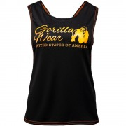 Gorilla Wear Odessa Cross Back Tank Top - Zwart/Neon Oranje - XS